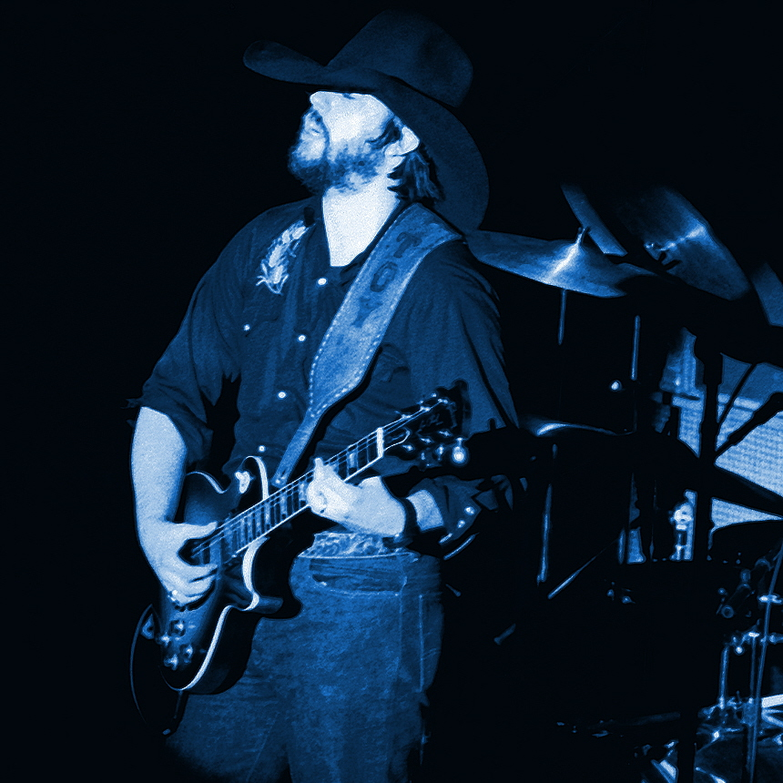 Marshall tucker Band's Toy Caldwell on guitar at Winterland in San Francisco on 4-17-76.