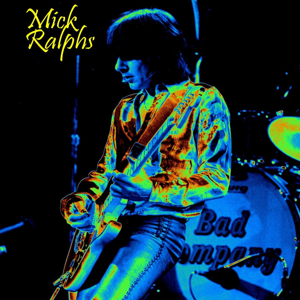 MICK RALPHS OF BAD COMPANY PERFORMING IN SPOKANE, WA. ON 5-4-77. PHOTO/ART BY BEN UPHAM.