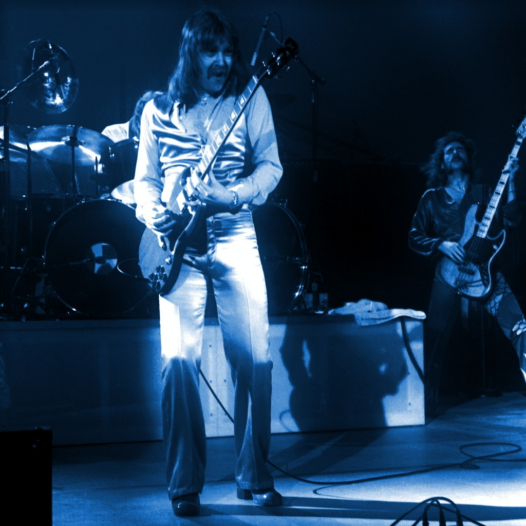 FOGHAT PERFORMING LIVE IN CONCERT AT THE COLISEUM IN SPOKANE, WASHINGTON ON FEBRUARY 2, 1977. PHOTO BY BEN UPHAM. MAGICAL MOMENT PHOTOS.