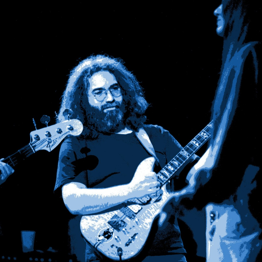 JERRY GARCIA PLAYING IN CHENEY, WASHINGTON ON 10-27-78. PHOTO BY BEN UPHAM. MAGICAL MOMENT PHOTOS.