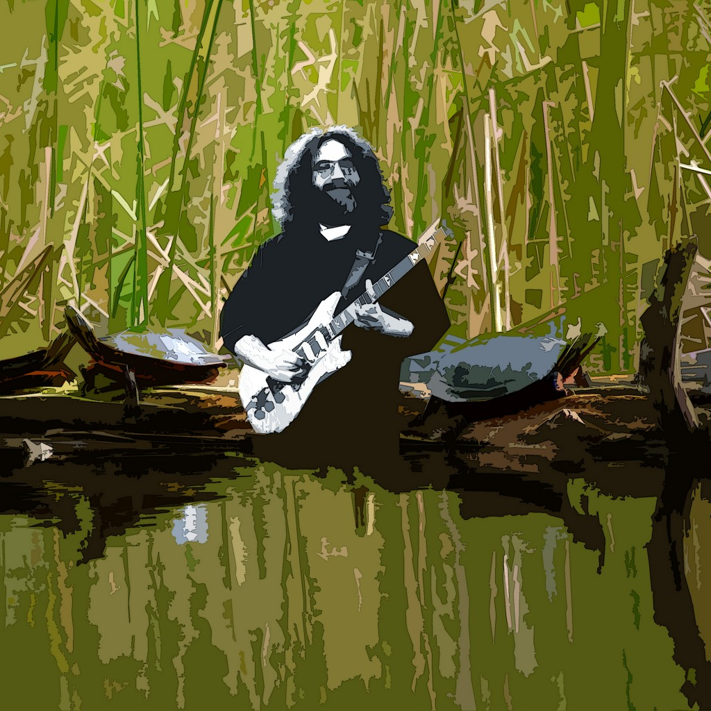 JERRY GARCIA PLAYED LIVE FOR A BUNCH OF TURTLES RECENTLY AT TERRAPIN LAKE. PHOTO ART BY BEN UPHAM. MAGICAL MOMENT PHOTOS.