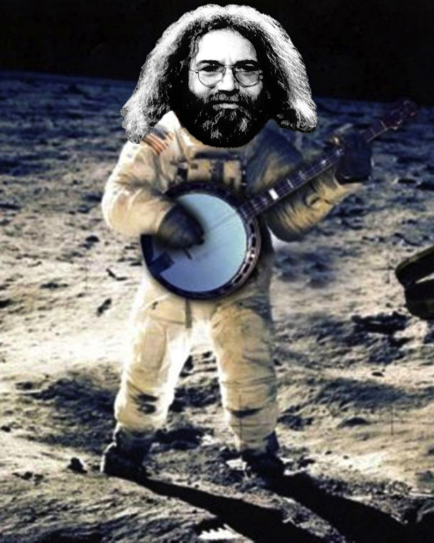 JERRY GARCIA STANDING ON THE MOON. PHOTO ART BY BEN UPHAM. MAGICAL MOMENT PHOTOS.