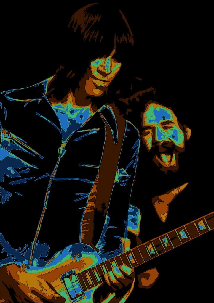 TOM SCHOLZ AND BRAD DELP OF BOSTON PERFORMING LIVE IN SPOKANE, WA. ON 9-10-78. PHOTO BY BEN UPHAM. MAGICAL MOMENT PHOTOS.