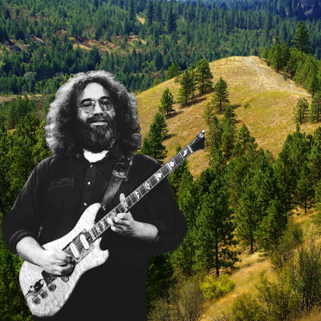 JERRY GARCIA OF THE GRATEFUL DEAD. PHOTO ART BY BEN UPHAM. MAGICAL MOMENT PHOTOS.