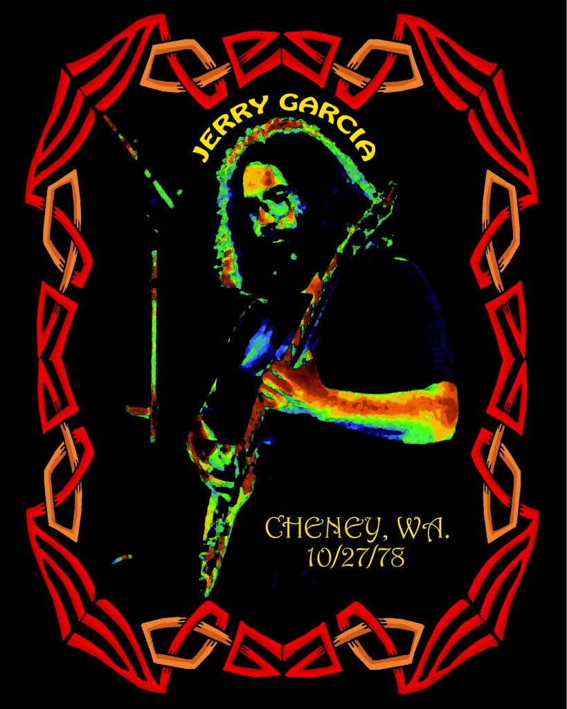 Jerry Garcia of the Grateful Dead performing in Cheney, Wa. on 10-27-78. Photo/Art by Ben Upham. Magical Moment Photos.