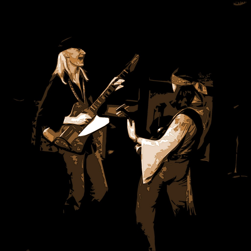 JOHNNY WINTER AND FLOYD RADFORD AT WINTERLAND ON APRIL 30, 1976. PHOTO BY BEN UPHAM. MAGICAL MOMENT PHOTOS.