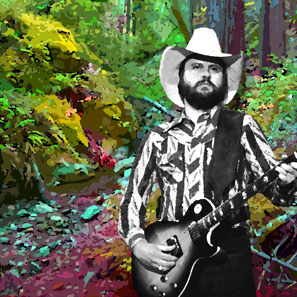 TOY CALDWELL JAMMING IN THE WOODS. PHOTO-ART BY BEN UPHAM. MAGICAL MOMENT PHOTOS.